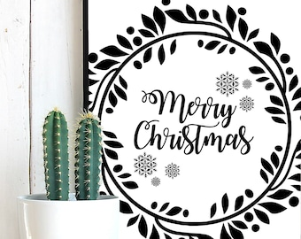 Merry Christmas Wreath SVG, Merry Christmas SVG, Christmas Wreath, Christmas Wreath Cut File, Christmas SVG files, Merry Christmas Clipart