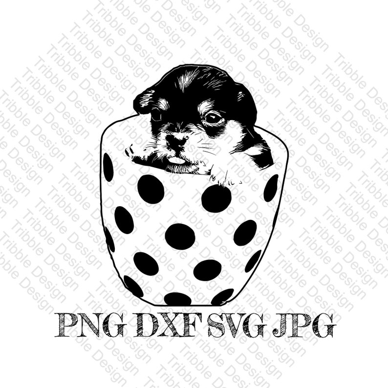 Pup in a cup SVGDXFPNGcut filepuppy in cuppuppy image 0