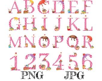 Summer Alphabet Monogram Letters Numbers Clipart, Logo Design, Cakes, Baby, Wedding, Nursery Decor, PNG | Digital Download | Printable Art