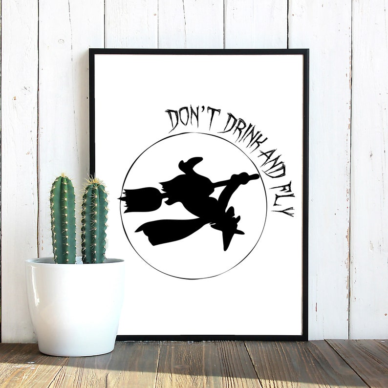 Don't drink and fly Witch SVG Witch clipart Halloween image 0