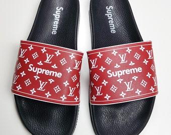 e9eea8005633a5 Louis Vuitton slides men Supreme sandal Fashionable Glam Slides Supreme  slides for Fashionistas Designed Supreme Louis Vuitton slides men