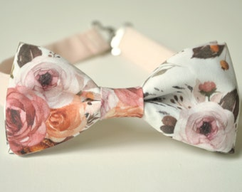 20ad7abddc9f Vintage Roses Bow Tie- Rosewood Bow Ties- Men's Bow Ties- Blush Pink Floral Bow  Tie- Wedding Bow- Groomsmen Bow Tie- Kids Bowtie- Flowers