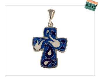 Enamel Cross Pendant, Silver jewelry, Cloisonné Enamel handmade.