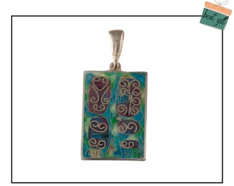 Pendant, Enamel Pendant, Sky blue and green, Cloisonne enamel, silver.