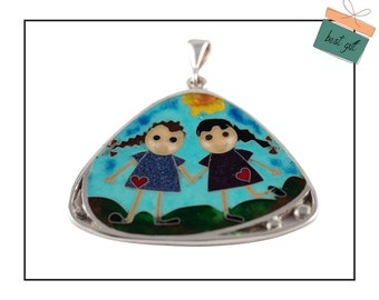 Enamel Pendant with girls in blue, Best friends gift, sister birthday gift, cloisonné enamel, Wearable Art Jewelry, Gift for her