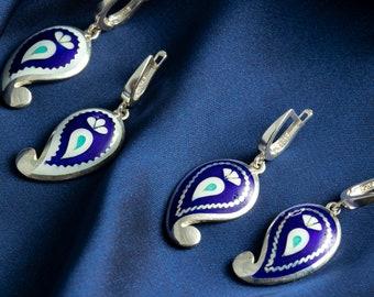 Unique ornament blue earrings, Silver Earrings, Enamel jewelry, Enamel earrings, Cloisonne enamel. Free shipping.