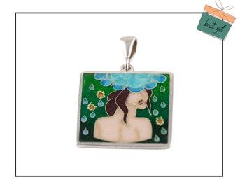 Women in flowers, Georgian Cloisonne enamel jewelry, wearable art, sterling silver, rainy mood