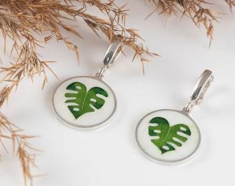 Green Leaf Earrings,  Unique Earrings with Cloisonné Enamel, Wearable Art Jewelry, Gift for her, Green earrings
