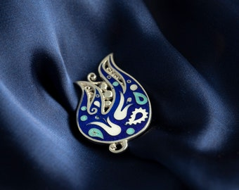 Silver Brooch, Enamel brooch, Cloisonné Enamel handmade, blue ornament, unique traditional jewelry, best gift for her