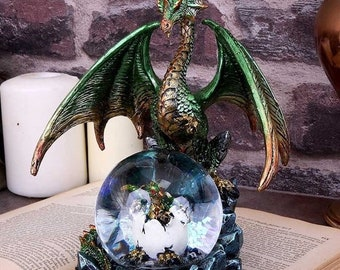 Emerald Oracle Green Dragon Figurine with orb Personalised on request 19cm