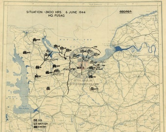d-day normandy battle map, 6 june 1944