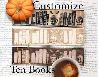 Halloween Customized Shelf Wooden Bookmark | Witchy Bookshelf | Bookish Gift