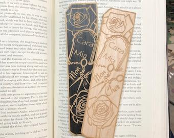 Mortitia and Gomez Wooden Bookmark | Spooky Bookmark | Bookish Gift
