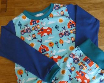 7e2ae3c9f40b2a Schlafanzug lang für Jungen in Gr.104 110 Bauernhof Tiere Pyjama Einzeltück