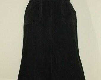 Vintage Black Grey Cotton Blend DIVIDED Zip Asymmetrical Women/'s Skirt Size S L 25