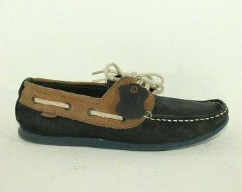 Vintage Boy's Dark Blue & Brown Leather RIVER ISLAND Lace Up Moccasin Shoes Size 4 / 37