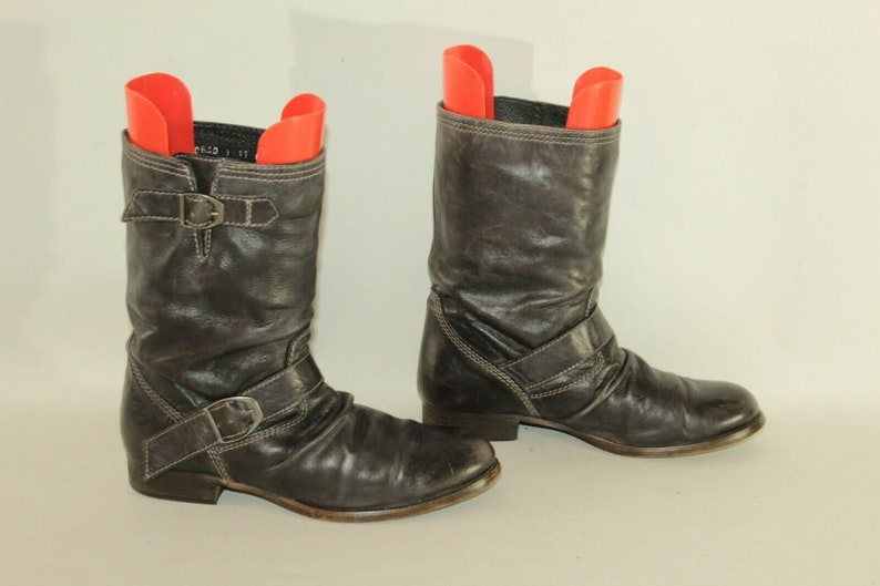 72097e2cdfc Vintage Dark Brown Leather RIVER ISLAND Pull On Wrinkle Biker Mid Calf  Boots Size 4 / 37