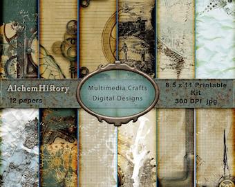 "AlchemHistory - 8.5"" x 11"" Digital CU Paper Kit.  Scrapbook, Journal, Cards, Tags, Ephemera"