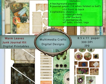 Warm Leaves Digital Junk Journal Kit.  Fall, Thanksgiving, Halloween, Seasonal, grunge.  Ephemera, tags, pockets, tabs