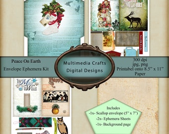 Peace On Earth Envelope and Ephemera Kit.  CU. Christmas Digital downloads. Junk Journal, tags, journal cards, shabby chic
