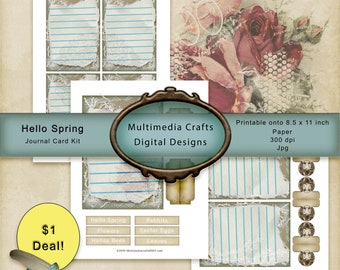 Hello Spring_Journal Cards. Commercial Use digital papers. Scrapbook, Junk journal, mixed media. Tags