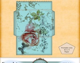 Spring Envelope digital FREEBIE. PU. Scrapbooking, junk journaling, papercrafting