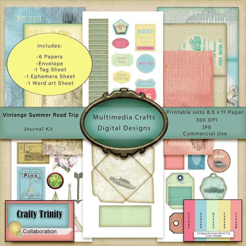 Vintage Summer Road Trip Journal Kit_Collaboration_Digital image 0