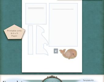 Ocean Slider Card Template.  Blog FREEBIE. PU.  Scrapbooking.  Junk Journaling.  Cards.  Mixed Media