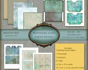 Watercolor Blues Ephemera Kit. CU Digital paper, Journal cards, Tags, Words, Pockets, Envelope