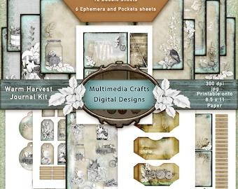 Warm Harvest Journal Digital Kit. Fall, Thanksgiving, Halloween, Mixed Media. Scrapbooking, Cardmaking