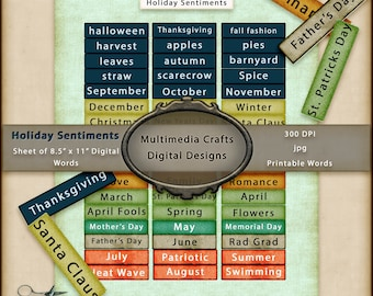 Holiday Sentiments digital download.  Printable Commercial Use Sheet of Words.  Ephemera, Scrapbook, junk journal, mixed media