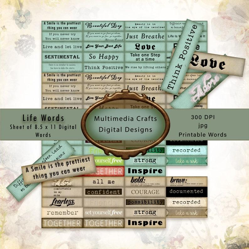 Life Words digital download.  Printable Commercial Use Sheet image 0