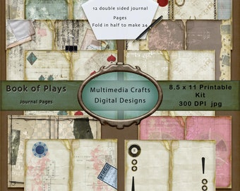 Book of Plays Journal Pages Kit. Commercial Use. Junk journal, Scrapbook, Cards, Tags, Mixed Media