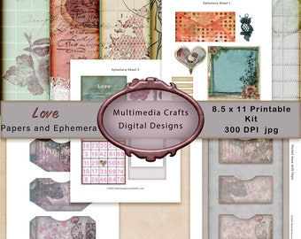 Love Papers and Ephemera Kit.  Commercial Use Valentine digital download. papers, words. Shabby chic Scrapbook, junk journal