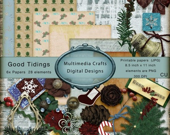 Good Tidings  Digital clipart & Papers kit. CU. Christmas, Scrapbooking, Junk journal, Cards, Tags, Mixed media. Photoshop, Overlay