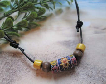 Yellow Necklace Hippie Jewelry Boho Jewelry Red Necklace Bohemian Jewelry Green Necklace Gift under 10.00