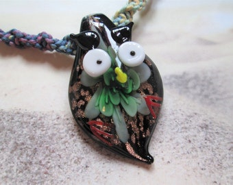 Custom Hemp Necklace with Black Glass Swirl Pendant Hippie Hemp Jewelry Layering Hemp Necklace Beach Swirl Pendant Boho Retro