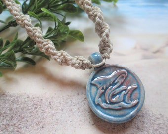 Zen Shark Pendant Hemp Jewelry Beach Jewelry Handmade Custom Hemp Raku Ceramic Blue Shark Necklace Stacking Jewelry Hemp Necklace