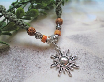 Cute Hippie Girl Jewelry SUN NECKLACE 18 /'Nothing Left to Do but Smile/'  Smiling Sun Silver Tone Charm on Hidden Bertha Guitar Pick