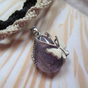 Pink Flower Pendant with Amethyst Beads Hemp jewelry gemstones macrame jewelry-  BOHO jewelry hemp necklace