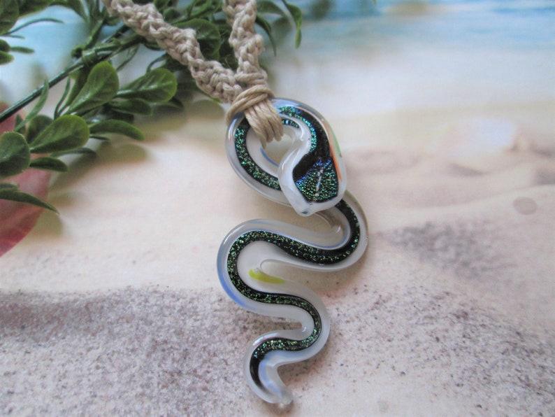 Macrame Snake Necklace Hemp Jewelry Choice of Hemp Color White Dichroic Glass Snake Pendant Hippie Hemp Necklace Retro Boho