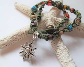 Hemp Necklace, Sun Pendant, Mixed Media Hemp Necklace, Hemp Jewelry, Boho Jewelry, Hippie, Retro, Hemp Sun Charm Necklace, Sun Jewelry
