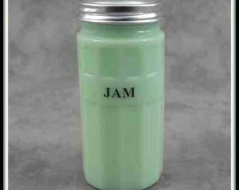 JADEITE GREEN GLASS BAKING POWDER CANISTER w// Metal Lid ~ COLUMN DESIGN ~