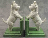 Pair of WEST HIGHLAND White Terrier Westie Dog Cast Iron BOOKENDS