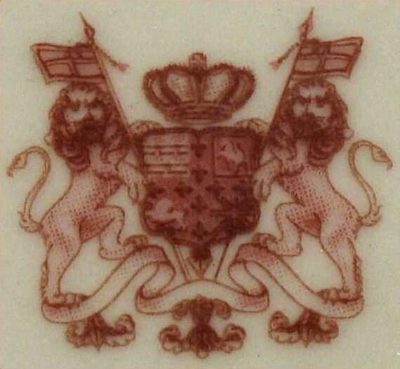 RED /& CREAM TRANSFERWARE VICTORIAN PASTORAL COUNTRY FARM TOILE PITCHER ~32 Oz.~