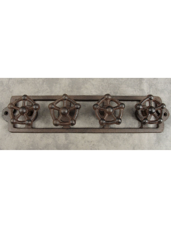 VICTORIAN 15 HOOK Cast Iron MULTI-ARM WALL BRACKET Hat Coat Jewelry FOLDING RACK