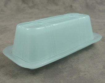 SEAFOAM Glass BUTTER DISH for 1/4 lb Stick Depression Style Lidded Frosted