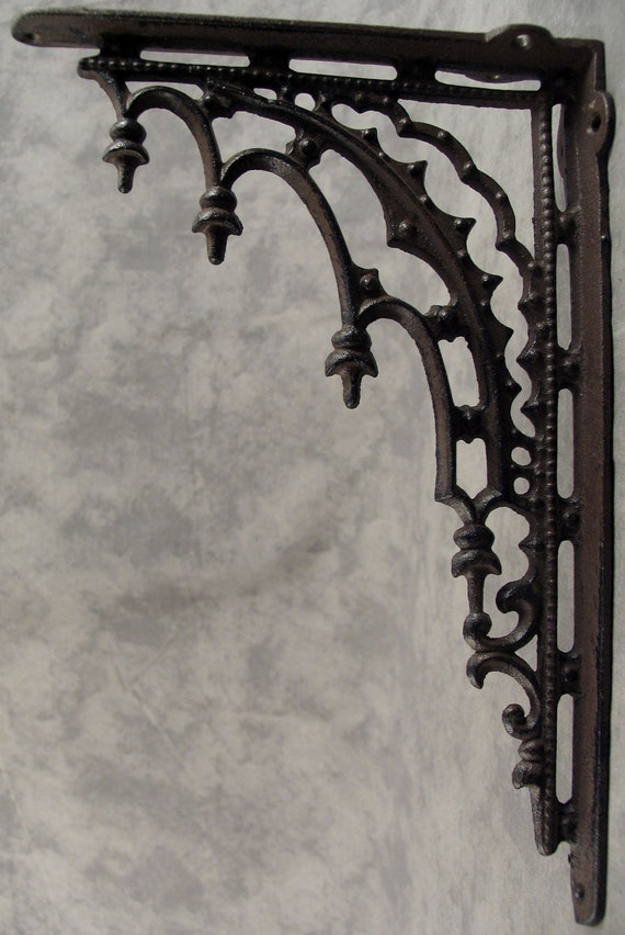 Antiques 2 ARCHITECTURAL GOTHIC RENAISSANCE Cast Iron SHELF BRACKETS WALL CORNER BRACKETS Hooks, Brackets & Curtain Rods