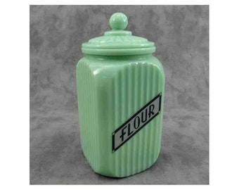 Jadeite GREEN Glass Tall FLOUR CANISTER Lidded Jar Gray Label Depression Style
