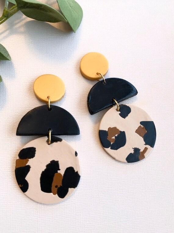 lightweight earring fun minimalist simple earring handmade earrings dangle gift for her modern earrings clay earrings gold